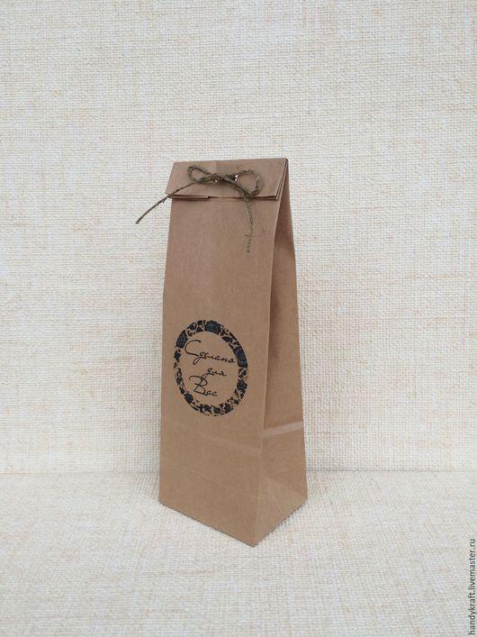 Упаковка ручной работы. Ярмарка Мастеров - ручная работа. Купить Крафт пакет с рисунком 9х27 см. Handmade. Коричневый