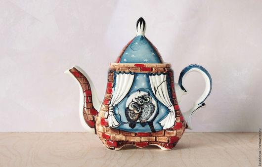"""Чайники, кофейники ручной работы. Ярмарка Мастеров - ручная работа. Купить Чайник заварочный фарфоровый """"Совы"""". Handmade. Разноцветный"""