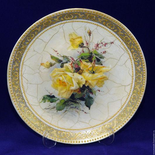 Декоративная посуда ручной работы. Ярмарка Мастеров - ручная работа. Купить Тарелка настенная Викторианские розы. Handmade. Тарелка настенная