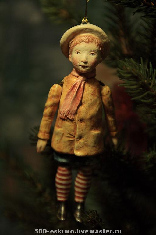 Новый год 2017 ручной работы. Ярмарка Мастеров - ручная работа. Купить Ёлочная игрушка мальчик в берете. Handmade. Дети