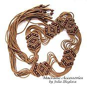 """Аксессуары ручной работы. Ярмарка Мастеров - ручная работа Пояс """"Рябина"""" коричневый с тёмно-коричневыми бусинами, макраме. Handmade."""