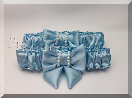 Одежда и аксессуары ручной работы. Ярмарка Мастеров - ручная работа. Купить Комплект подвязок для невесты Sea Wave. Handmade. Голубой