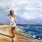 Pictures handmade. Livemaster - original item Painting with a girl and the sea: Wandering in the dunes. Handmade.