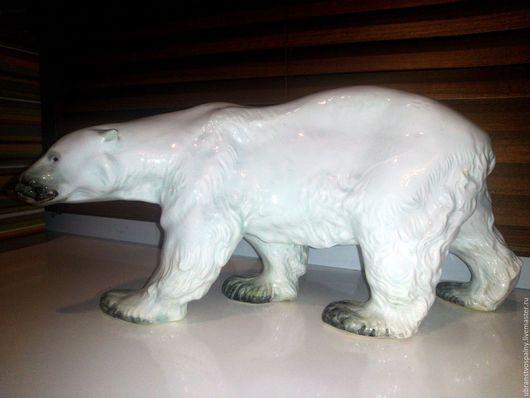 Винтажные предметы интерьера. Ярмарка Мастеров - ручная работа. Купить Большой белый медведь. Коллекционный фаянс. Конаково.. Handmade. Белый