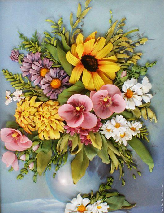 Картины цветов ручной работы. Ярмарка Мастеров - ручная работа. Купить Картина лентами Букет с подсолнухом 30 х 40 см. Handmade.