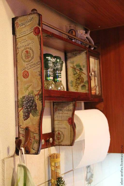 Кухня ручной работы. Ярмарка Мастеров - ручная работа. Купить Полочка кухонная. Handmade. Коричневый, дерево, объёмные контуры