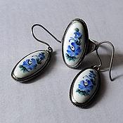 Винтаж handmade. Livemaster - original item Finifty, blue flowers, 1980s. Handmade.