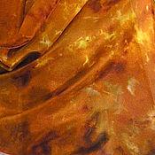 Аксессуары ручной работы. Ярмарка Мастеров - ручная работа Шарф большой шелковый Рыжая Осень 100%шелк батик. Handmade.