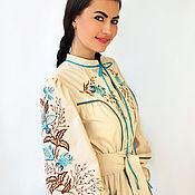 Одежда handmade. Livemaster - original item Luxurious dress in ethnic style `Turquoise