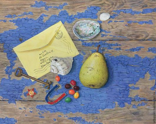 Натюрморт ручной работы. Ярмарка Мастеров - ручная работа. Купить Письмо издалека. Handmade. Синий, октябрятский значок, конфеты, моллюск