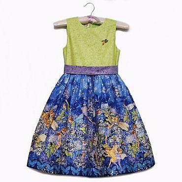 Работы для детей, ручной работы. Ярмарка Мастеров - ручная работа Нарядное платье для девочки из американского хлопка с феями. Handmade.