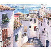 Картины и панно ручной работы. Ярмарка Мастеров - ручная работа улочки Испании. Handmade.