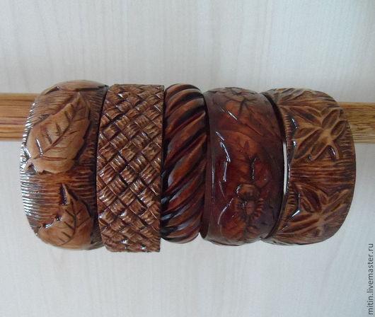 Браслеты ручной работы. Ярмарка Мастеров - ручная работа. Купить Браслет деревянный резной. Handmade. Коричневый, украшения