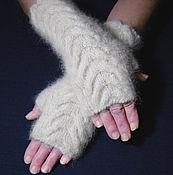 Аксессуары handmade. Livemaster - original item Women`s knitted fingerless gloves Snow Barkhans. Handmade.