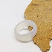 Украшения handmade. Livemaster - original item Wide ring of white chalcedony 18.25 R-R. Handmade.