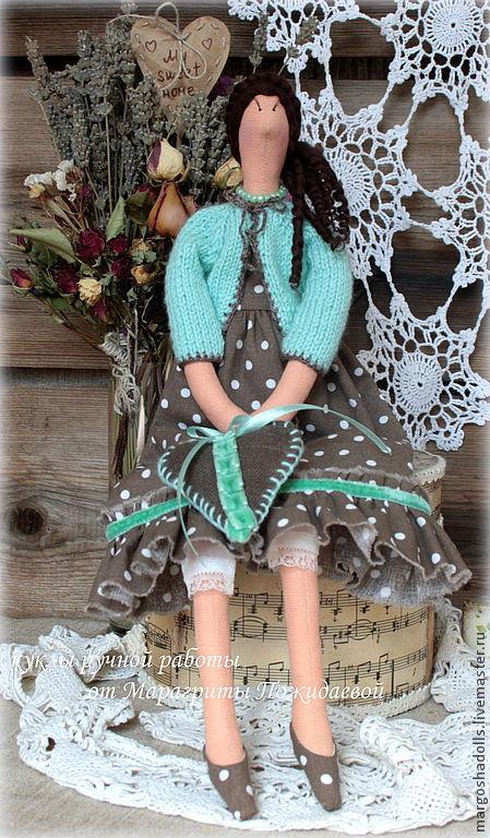 Куклы Тильды ручной работы. Ярмарка Мастеров - ручная работа. Купить кукла тильда Ирма. Handmade. Мятный, горошки, кантри