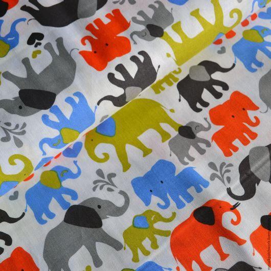 """Шитье ручной работы. Ярмарка Мастеров - ручная работа. Купить Хлопок для детей. Ткань для шитья. Корея. """"Слоны"""". Handmade. Комбинированный"""