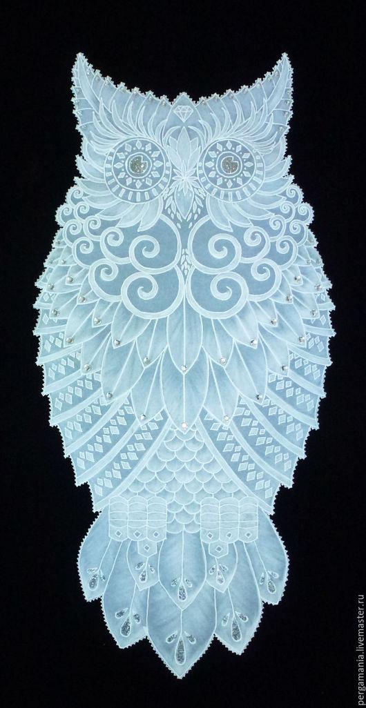Животные ручной работы. Ярмарка Мастеров - ручная работа. Купить Белый филин. Handmade. Белый, сова, пергамент, бархат