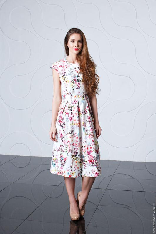 Платья ручной работы. Ярмарка Мастеров - ручная работа. Купить Белое платье с цветами. Handmade. Комбинированный, цветочное платье