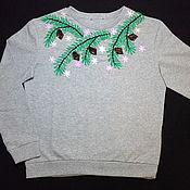 """Одежда ручной работы. Ярмарка Мастеров - ручная работа Свитшот с ручной вышивкой, """"Новогодняя сосна"""". Handmade."""
