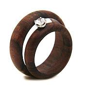 Rings handmade. Livemaster - original item Wooden ring with emerald. Handmade.
