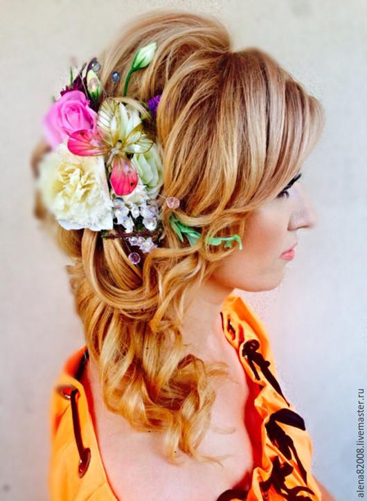 Свадебные украшения ручной работы. Ярмарка Мастеров - ручная работа. Купить Сказочные цветы. Handmade. Разноцветный, украшение для волос, бабочка