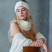 Аксессуары handmade. Livemaster - original item Knitted white stripe from Alpaca Branca. Handmade.