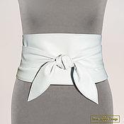 Belt handmade. Livemaster - original item Obi belt made of genuine leather (white). Handmade.