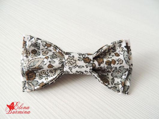 Галстуки, бабочки ручной работы. Ярмарка Мастеров - ручная работа. Купить Бабочка галстук серая в цветок, хлопок. Handmade. Серый