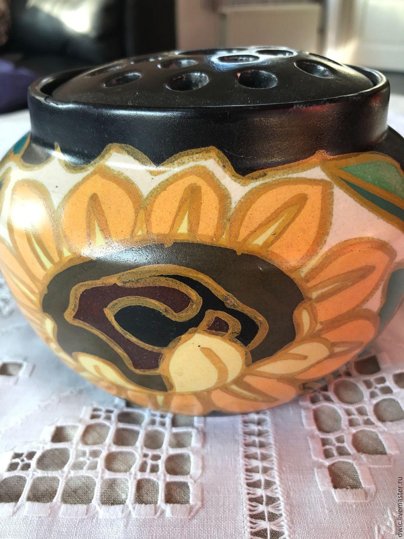 Vase 'Sunflower', ceramic, handmade, Holland. Rarity, Vintage interior, Arnhem,  Фото №1