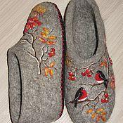 """Обувь ручной работы. Ярмарка Мастеров - ручная работа Валяные тапочки из коллекции """"Снегири прилетели"""". Handmade."""