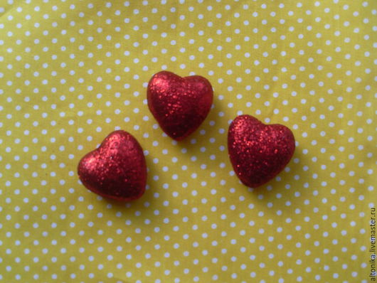 Материалы для флористики ручной работы. Ярмарка Мастеров - ручная работа. Купить Сердце 3см. Handmade. Ярко-красный, сердце, сердечко