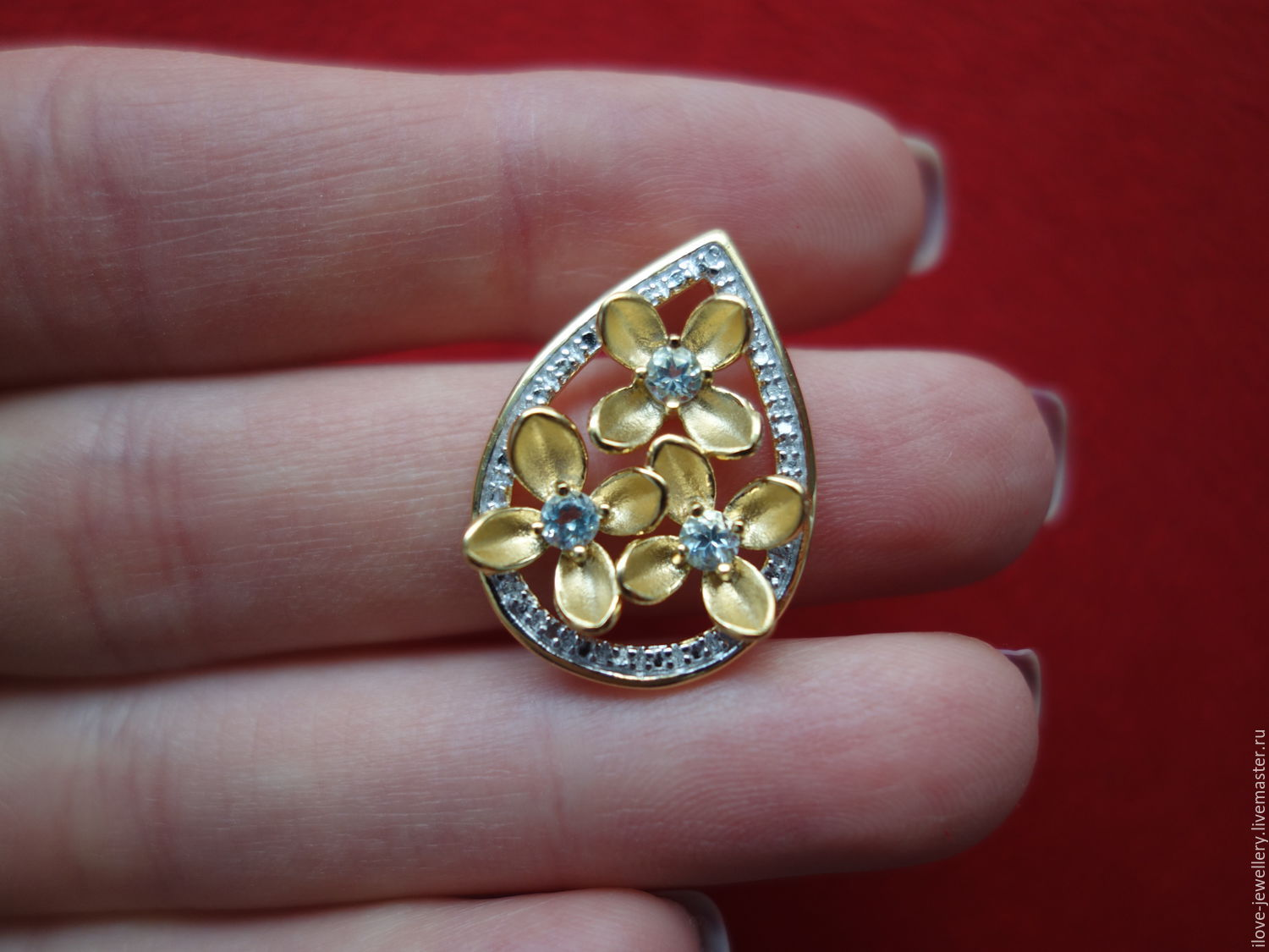 Gigli is a charming silver. Topaz and diamond pendant, Pendants, Moscow,  Фото №1