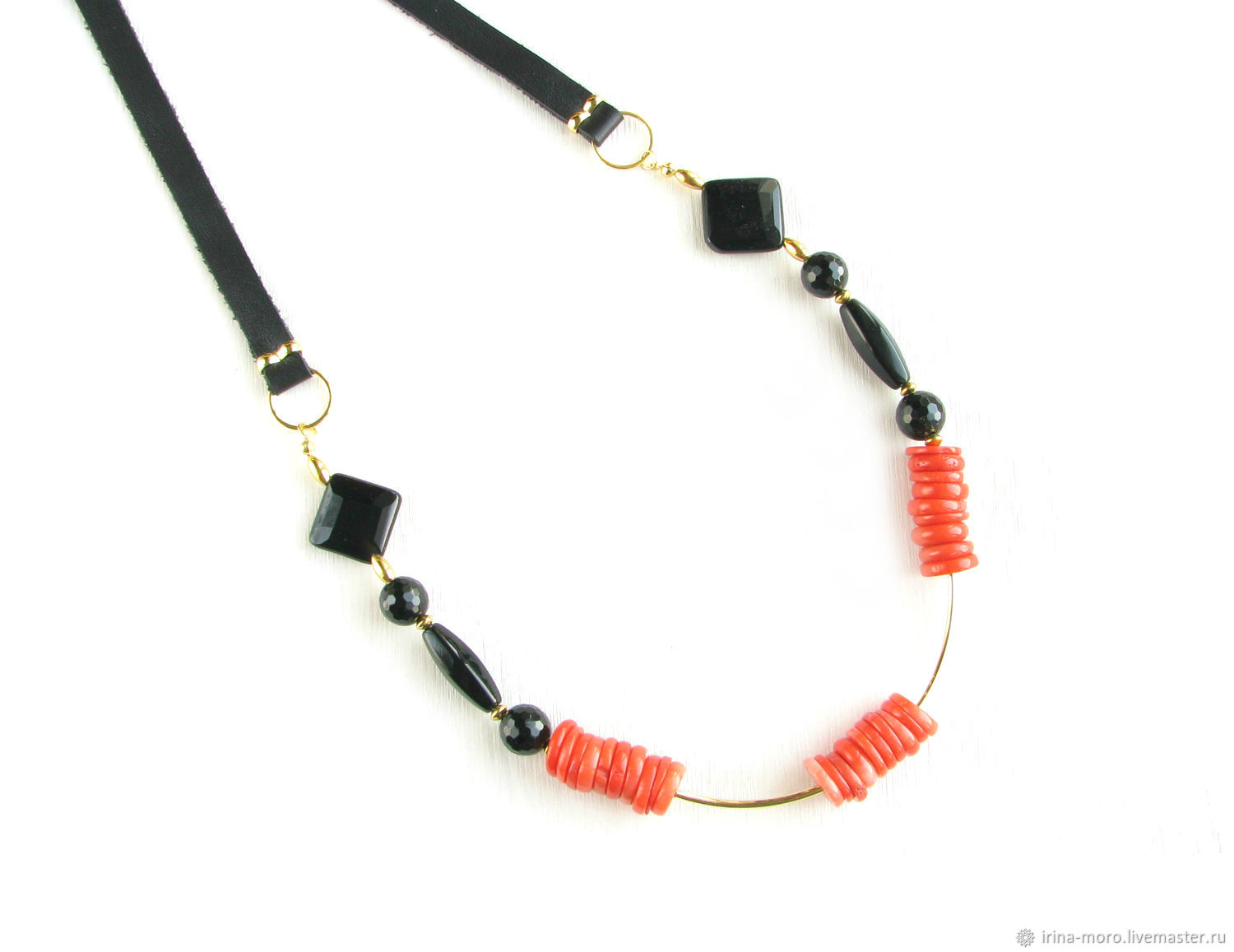 Necklace of coral 'Movement'necklace with corals necklace with onyx, Necklace, Moscow,  Фото №1