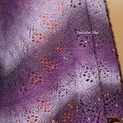 Аксессуары ручной работы. Ярмарка Мастеров - ручная работа ВАЛЬС ЦВЕТОВ - тёплая шерстяная шаль с ажурной каймой и бисером. Handmade.
