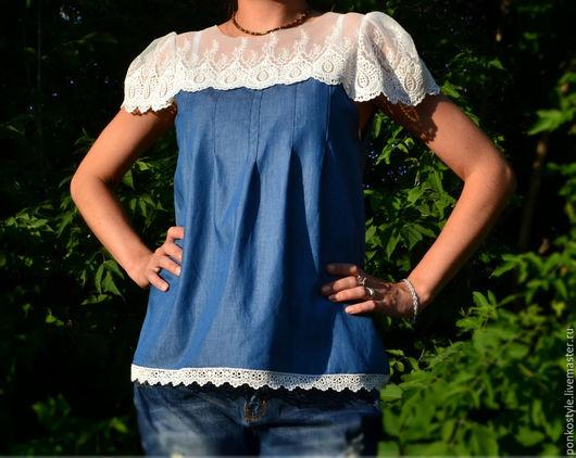"""Блузки ручной работы. Ярмарка Мастеров - ручная работа. Купить Блузка """"Нежность"""". Handmade. Синий, джинсовая одежда, тесьма хлопковая"""