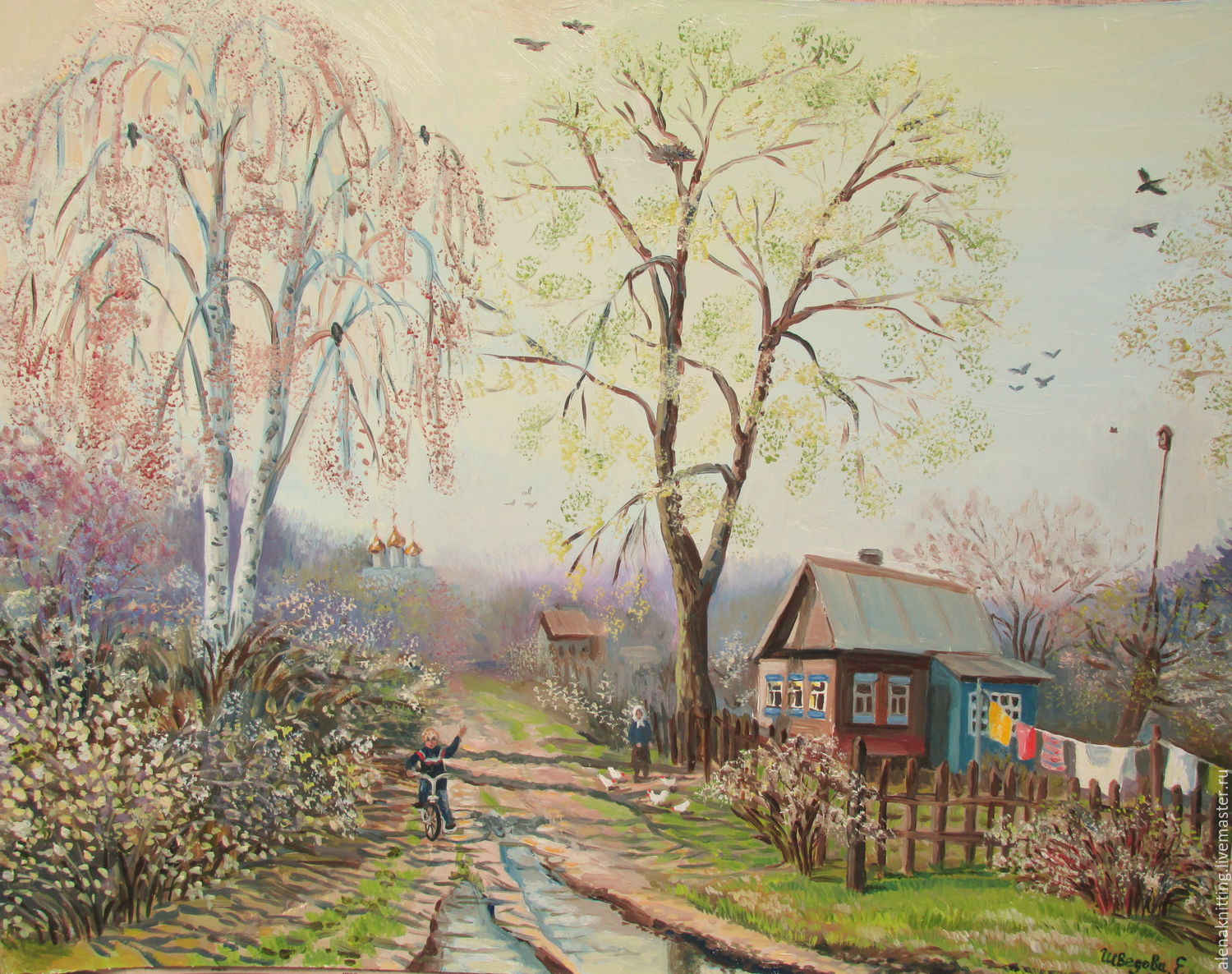 Elena Shvedova oil Painting ` April in the village ` ( art cardboard, oil) 40 x 50. 2016. The author's work., like all my work.