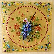 """Для дома и интерьера ручной работы. Ярмарка Мастеров - ручная работа Часы """"Птица  Феникс""""    фьюзинг. Handmade."""