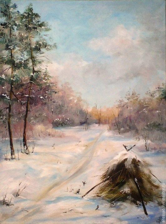 Landscape handmade. Livemaster - handmade. Buy The painting 'Winter life'.Winter, nature, snow, forest, stack, animals