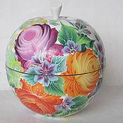 Для дома и интерьера ручной работы. Ярмарка Мастеров - ручная работа шкатулка- яблоко Тагильские розы. Handmade.