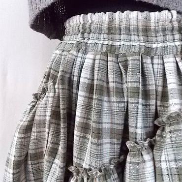 Clothing handmade. Livemaster - original item Warm Skirt long in a large olive check, in the style of boho. Handmade.