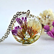 Украшения handmade. Livemaster - original item Epoxy and mother-of-pearl floral pendant. Handmade.
