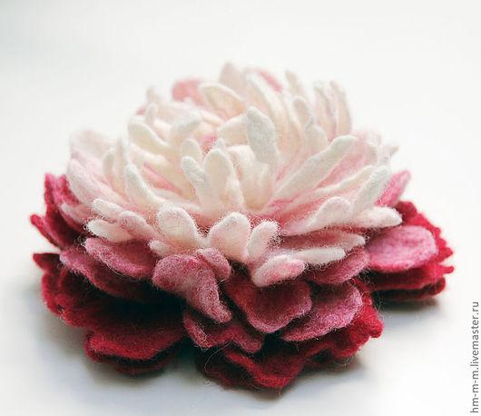 Броши ручной работы. Ярмарка Мастеров - ручная работа. Купить Валяные броши Цветы. Handmade. Розовый, валяный цветок, пион