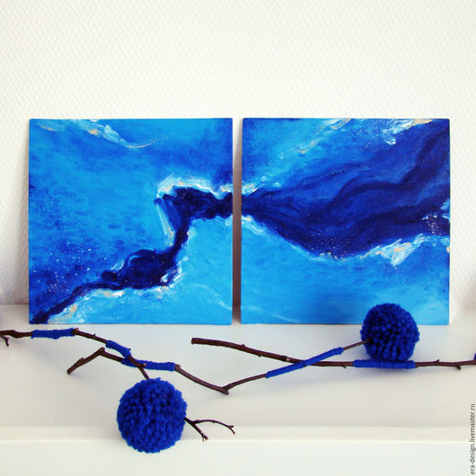 Абстракция ручной работы. Ярмарка Мастеров - ручная работа. Купить Картина маслом «Синяя вода» диптих 20х20см. Handmade. Синий