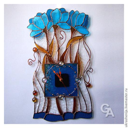 """Часы для дома ручной работы. Ярмарка Мастеров - ручная работа. Купить Часы настенные """"Синие цветы"""". Handmade. Часы"""
