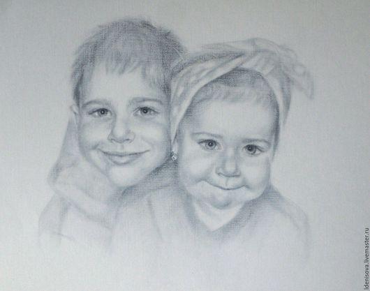 Люди, ручной работы. Ярмарка Мастеров - ручная работа. Купить Брат и сестра. Handmade. Чёрно-белый, детский портрет