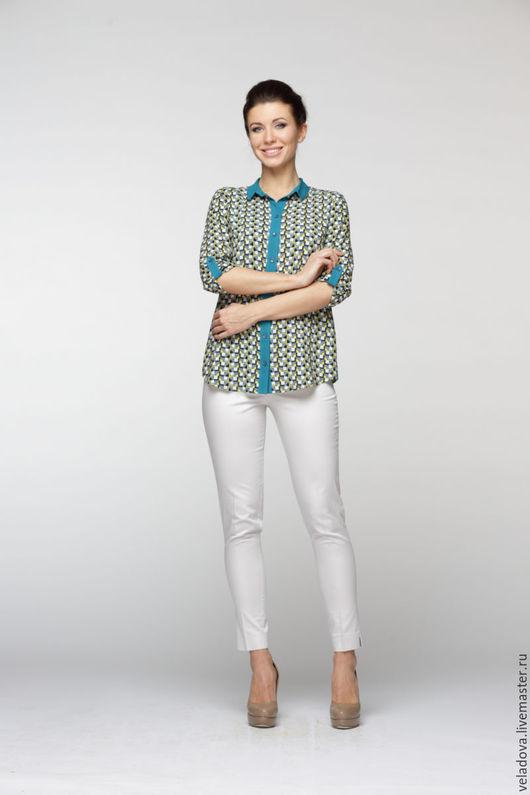 """Блузки ручной работы. Ярмарка Мастеров - ручная работа. Купить Блузка-рубашка """"Бирюзовая Геометрия"""". Handmade. Яркая блузка"""