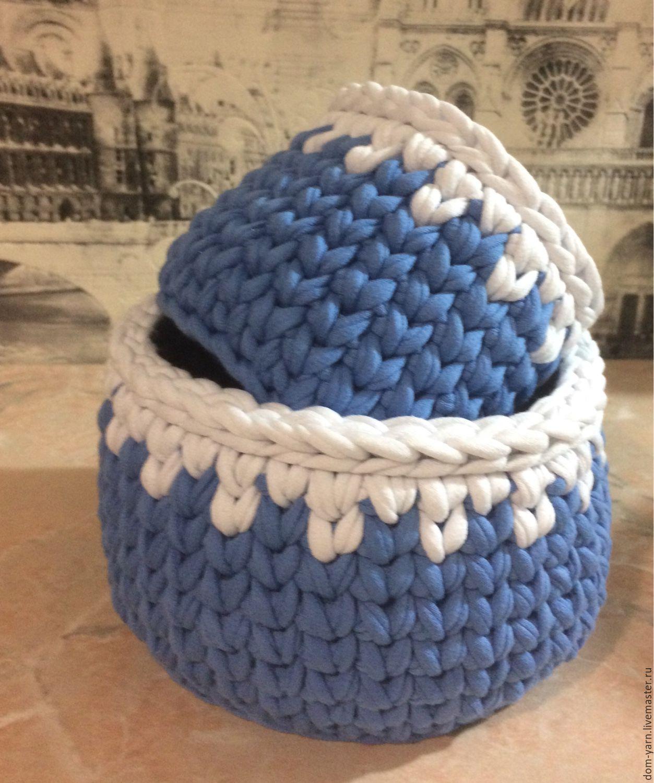 Вязанные корзины из трикотажной пряжи – купить в интернет ...