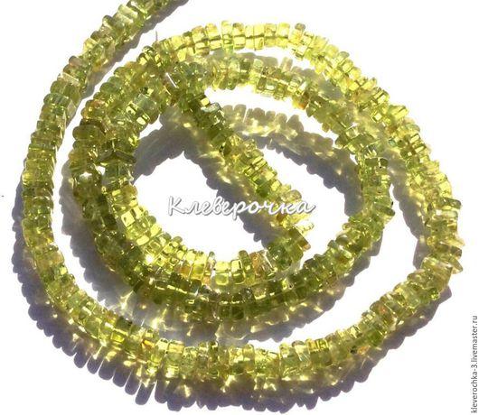 Для украшений ручной работы. Ярмарка Мастеров - ручная работа. Купить .Хризолит 5-6 мм чипсы квадрат рондель бусины камни. Handmade.