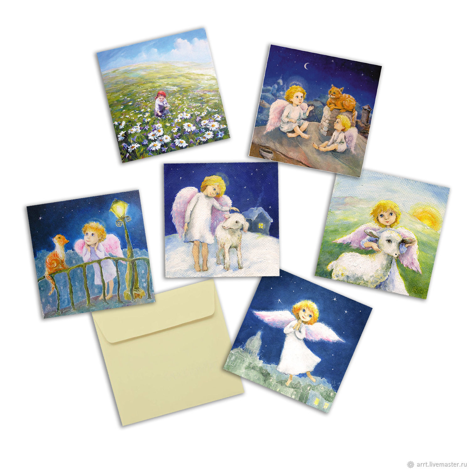 Large Square greeting card 15h15 cm 6 PCs, Cards, St. Petersburg,  Фото №1